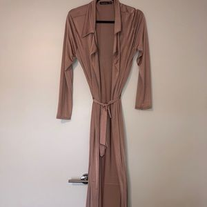 ROSE GOLD LONG SLEEVE SLINKY MAXI DUSTER BOOHOO